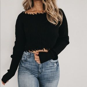 Black ripped cropped sweater